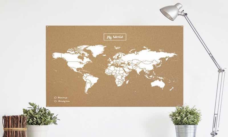 Miss wood. Mapa del mundo de corcho