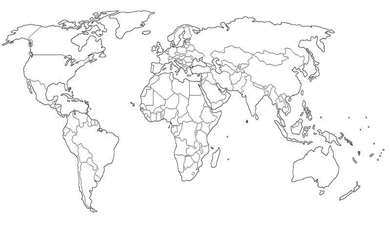 Mapamundi politico mudo con fronteras