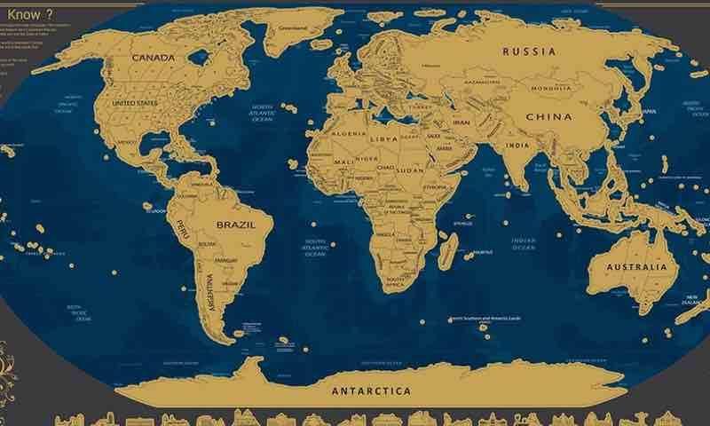 Pootack Mapa mural para rascar del mundo. Mapa mundi países