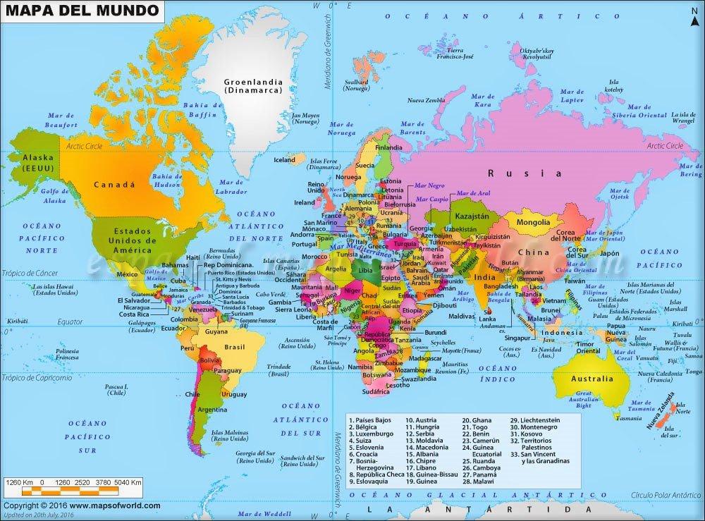 mapamundi con nombres en español