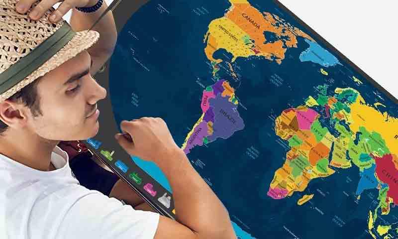 mapa mundi para rascar. mapa mundi países