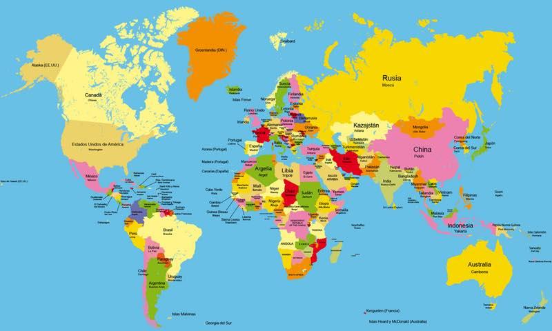 Mapa político con nombres y en color