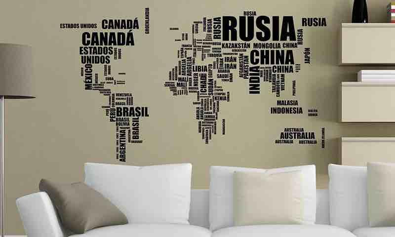 vinilos mapamundi. mapas del mundo