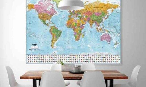 Póster XXL. Mapa del mundo con banderas