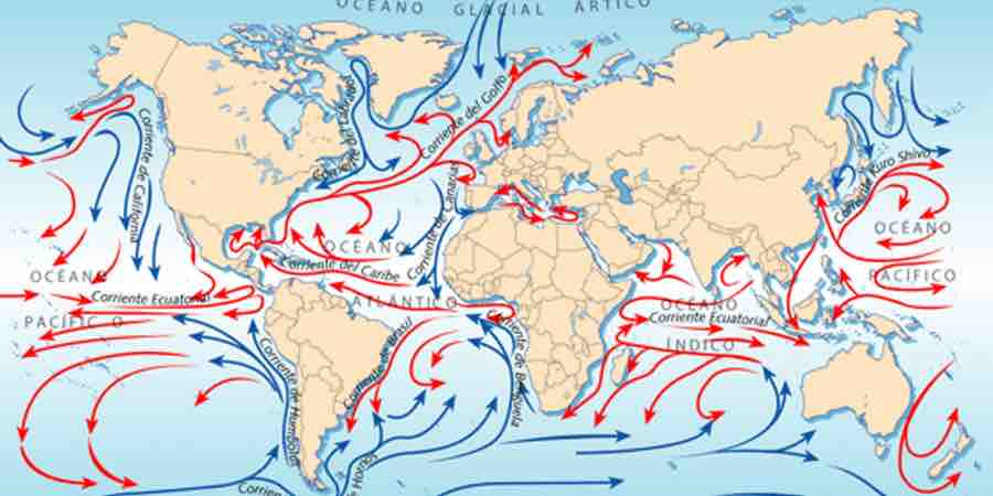 Corrientes marinas. Que es una corriente marina. Mapa de corrientes marinas. corrientes calidas