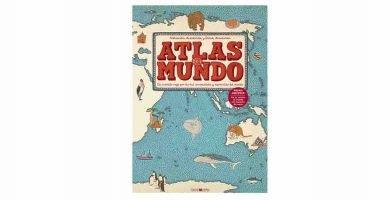 Atlas de mapas del mundo con ilustraciones y pegatinas