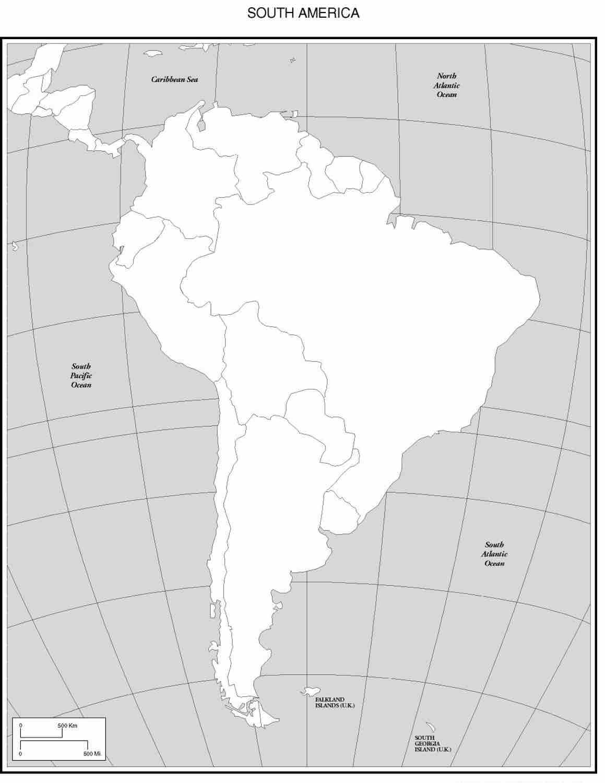 Mapa de america del sur mudo